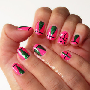 abstract nail art inspired by sprouting spring greens, juicy watermelon, Mardi Gras and Cirque du Soleil! More here: http://www.maryammaquillage.com/2013/02/pink-n-green-for-spring.html