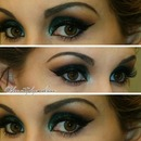 Dark Green Makeup Look.