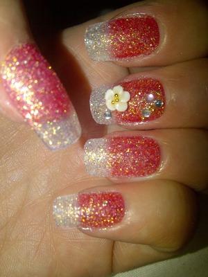 glitter summer nails