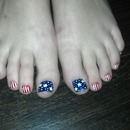 matching toes 4th of July flag inspired