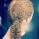 Basket weave and fish skeleton looking like ponytail