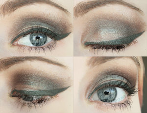 Using Silk Naturals' mineral eyeshadow in Changeling and Concrete Minerals eyeshadow in Nocturne (foiled).