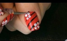 Red, black nails with white flowers!