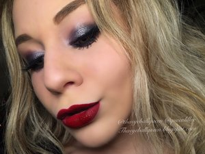 I bought Mac's pressed pigment in Black Grape in August and never got around to using it, but today was definitely the day. It inspired me to do a New Years makeup look, in which I used two lipsticks for in the picture shown is red however from my video tutorial I had used ABH Milkshake! Full details are here my loves: http://theyeballqueen.blogspot.com/2015/12/dark-amethyst-new-years-makeup-tutorial.html