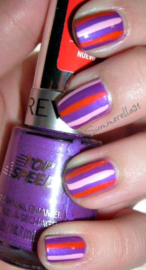 Revlon Top Speed Violet, LA Colors Art Deco Bright Orange and Baby Pink