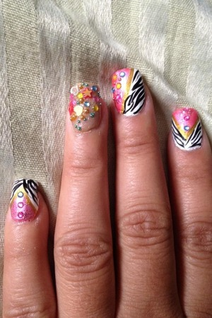 Light pink and zebra with gems