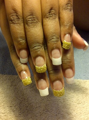 CND Clear acrylic White tips Gold beads