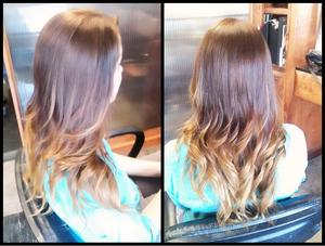 Ombre effect on a client by me; all over color and lightened pre-lightened ends