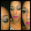 Blue/Green Smokey eye with bold pink lips