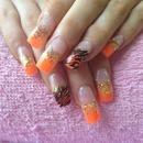 Orange & Gold Nails
