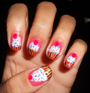 Cute Cupcake Nails! Tutorial here: http://bit.ly/ysr9Wq