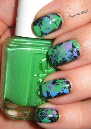 Wet n Wild Ebony Hates Chris, Essie Mojito Madness, OPI Do You Lilac It?, and China Glaze Electric Beat