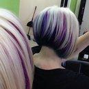 Purple, pink,teal, blue hair