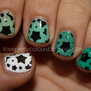 Green Ombre With Stars