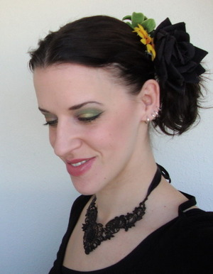 I have no idea why this look was called this way, the picture doesn't look like I'm miserable... I made a light green look to keep it fresh with the flowers and stuff.