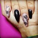 Black Nails/Glitter Nails/Rose Nail Art/Roses Nail Art/Nails/Nails Art