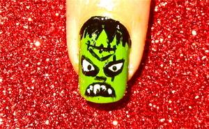 Halloween Frankensteine nailart tutorial Video tutorial:www.youtube.com/nailartbynidhi