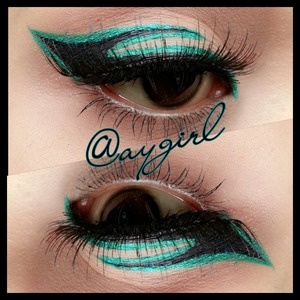 I used Sephora's Pantone Lid Stain in Emerald and Lancôme's artliner in Noir. Falsies are from Japan.