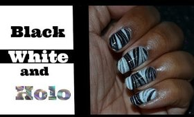 Water Marble May 2017 #4 | Black, White & Holo Water Marble Nail Art Tutorial