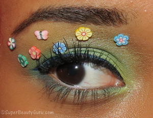 This makeup look is perfect for Easter, or Spring in general. I used a bunch of colorful eyeshadow and other things to do this look, so if you want to see how I did it, check out my blog and youtube video tutorial here: http://superbeautyguru.com/floral-easter-spring-makeup-tutorial-using-fimo-crazy-makeup/