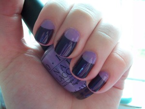 Lilac and Purple Half Moon Manicure  Using OPI Do You Lilac It? and Essie Sexy Divide  To read how I did this please visit my blog:  www.mazmakeup.blogspot.com