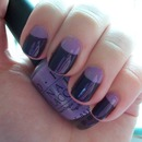 Lilac and Purple Half Moon Manicure