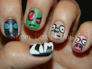 Nail art inspired by the cartoon, Invader Zim.