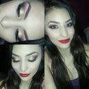 Gold smokey red lips