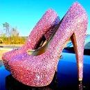 Cute Pink Bling Dimond High Heels