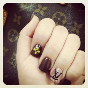 Having some fun, Louis Vuitton inspired nail art at art pro nails