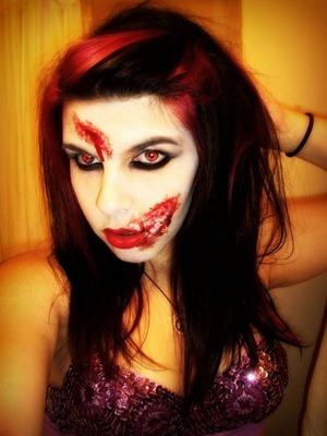 Gory makeup.