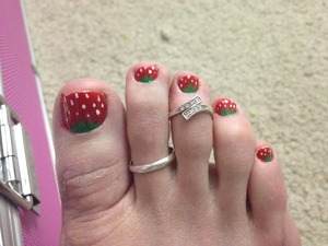 Finally decided to get a taste of spring with these strawberry toes :-)