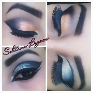 Orange shimmery eyes.  And a gray someky wing eyes  Follow me on Instagram. Sullymalik x