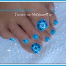 Easiest Toenail Art Design | Blue Floral Pedicure