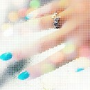Blue and White Nails c: