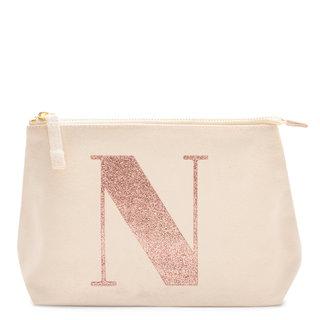 Rose Gold Glitter Initial Makeup Bag Letter N