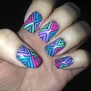 Colorful stripe nails