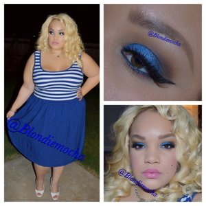 "Follow me @Blondiemocha on Instagram for more looks!!  I began by using Urban Decay eyeshadow primer as a base.    Eyes -  Broken (Urban Decay, under brow, LE, Theodora Palette) Outré (Mac Cosmetics, upper eye and crease) Beware (Urban Decay, upper eye and crease, LE, Theodora Palette) Bewitch (Urban Decay, crease, LE, Theodora Palette) Blue on By (Maybelline Color tattoo, lid)  Freshwater (Mac Cosmetics, LE, lid) Lunar (Mac Cosmetics, extra high dimension eyeshadow, LE, outer lid)   Eyeliner - Mac Cosmetics Chromaline in 'Black Black'   Brows - Anastasia Beverly Hill Brow Wiz in Soft Brown.   Lashes -  House of lashes ""Noir Fairy""  Lips - Petal Luster, Luster Matte lip color, Sephora   Clothing -  Dress Torrid"