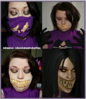 eyes are painted on my eyelids, the teeth are acrylic nails and I handmade the costume without the use of apattern.