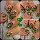 St. Patrick's Day Nail Art | Abstract Green and Gold Shamrock French