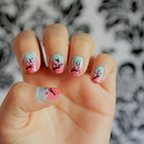 Mint/Coral Cherry Blossoms