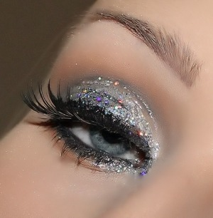 glitter eye with winged liner