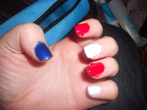 The start of my Fourth of July Mani.