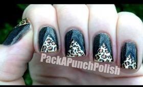 Leopard Print Tape Triangle Nail Art Tutorial