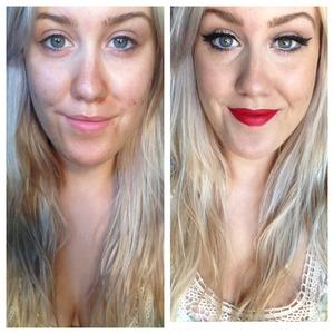 Winged eyeliner and bold lip.