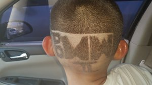 my son's back to school hair cut, his initials (: