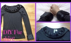How I DIY my fur embellished detailed shirt/top! No sew! Explained for beginners!