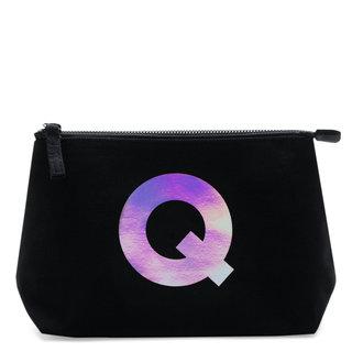 Holographic Foil Initial Makeup Bag Letter Q