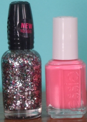 Essie- Knockout Pout and Wet n' Wild- Party of Fives Glitters.