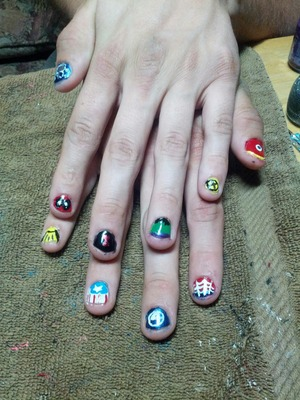 Marvel inspired nails I did on a friend of mine :)